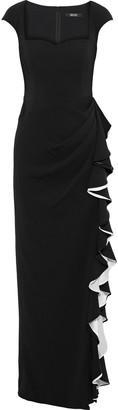Badgley Mischka Ruffled Satin-trimmed Stretch-cady Gown