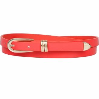 Redstar Womens Slim Belt Skinny Waist and Hip Fashion Accessory - Gold Tone Detail (Red)