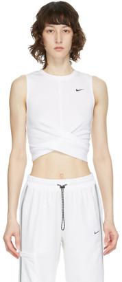 Nike White Dri-FIT Twist Cropped Tank Top