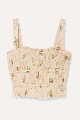 Brock Collection Frayed Ruched Floral-print Cotton-gauze Bustier Top - Pastel pink