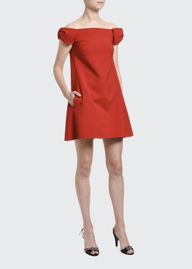Valentino Off-the-Shoulder Crepe Shift Dress