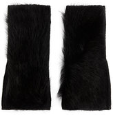 Yves Salomon Shearling Lamb Fingerless Gloves: Black