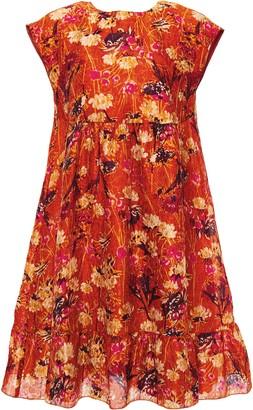 Anna Sui Bow-embellished Metallic Floral-print Cloque Mini Dress