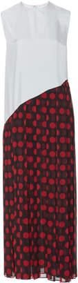 J.W.Anderson Pleated Polka-Dot Chiffon Maxi Dress