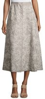 Lafayette 148 New York Embroidered Linen Midi Skirt, Gray