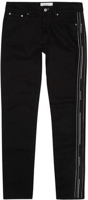 Givenchy Black logo-jacquard slim-leg jeans