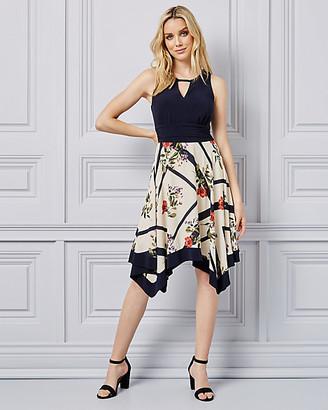 Le Château Floral Print Keyhole Dress