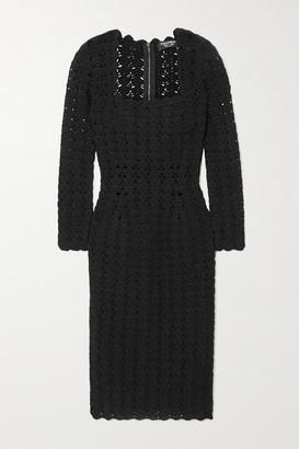 Dolce & Gabbana Crocheted Wool And Cashmere-blend Midi Dress - Black