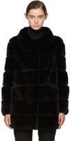 Yves Salomon Black Ribbed Fur Coat
