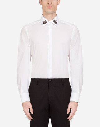 Dolce & Gabbana Cotton Gold-Fit Shirt With Crown Patches