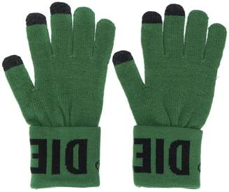 Diesel knitted gloves with logo cuffs