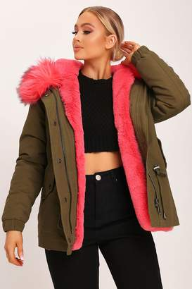 I SAW IT FIRST Khaki Contrast Fuschia Faux Fur Hood Parka
