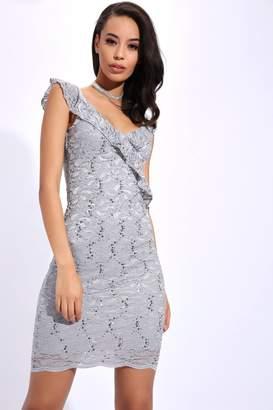 I SAW IT FIRST Grey Lace Mini Dress