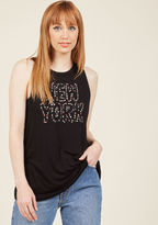 MDT1092A Whether you're a proud resident of the city that never sleeps or an enthusiastic visitor, you'll love the urban energy of this black top! The muscle tee silhouette of this jersey knit number is home to a ModCloth-exclusive graphic of pastel apples galore