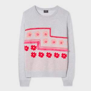 Paul Smith Light Grey Floral Intarsia And Fringing Details Sweater - SMALL - Grey/Pink/Red