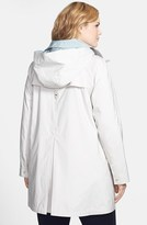 Gallery Two-Tone Roll Sleeve A-Line Hooded Walking Coat (Plus Size)