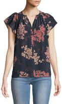 Rebecca Taylor Phlox Floral-Georgette Button-Front Blouse
