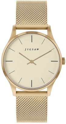 Jigsaw Champagne Dial Gold Stainless Steel Mesh Strap Ladies Watch