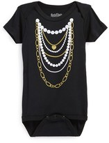 N. Infant Girl's Sara Kety Baby & Kids 'Gold 'N Pearls' Short Sleeve Bodysuit