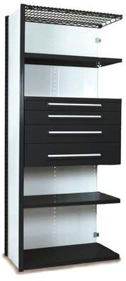 """Equipto V-Grip 84"""" Shelving with Drawers Unit - 4Dr with 5 Shelf Closed AddOn Equipto Finish: Textured Black, Size: 84"""" H x 36"""" W x 18"""" D"""