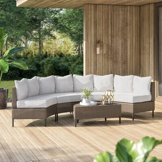 Dowd 5 Piece Rattan Sectional Seating Group with Cushions Mercury Row Frame Color/Cushion Color: Light Brown Frame/Ceramic Gray Cushion