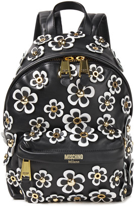 Moschino Floral-appliqued Leather Backpack