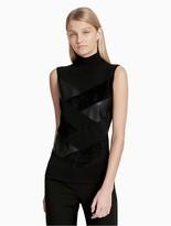 Calvin Klein Mock Neck Pieced Sleeveless Top