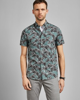 Ted Baker Tiger Print Cotton Shirt