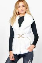 Boohoo Rosie Faux Fur Trim Belted Gilet
