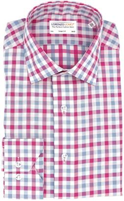Lorenzo Uomo Gingham Plaid Non-Iron Trim Fit Dress Shirt