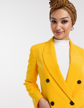 ASOS DESIGN pop waisted suit blazer in yellow