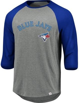 Majestic Men's Heathered Gray Toronto Blue Jays This Season 3/4-Sleeve Tri-Blend Raglan T-Shirt