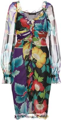 Etro panelled floral-print dress
