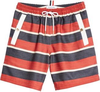 Thom Browne Stripe Wool & Cotton Drawstring Shorts