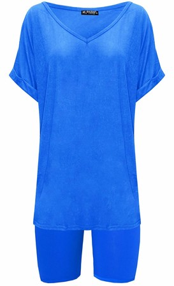 Fashion Star Womens V Neck Cycling Shorts 2 Pcs Co-ord Set Co-Ord Set Royal Blue M/L (UK 12/14)