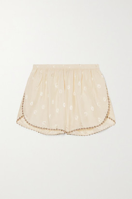 Morgan Lane Rosie Embroidered Silk-blend Jacquard Pajama Shorts - Cream