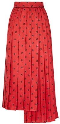Fendi Asymmetrical Pleated Midi Silk Skirt
