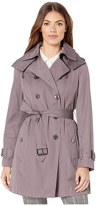 London Fog Olivia Heritage Double Breasted Trench with Removable Lining (Northern Sky) Women's Coat