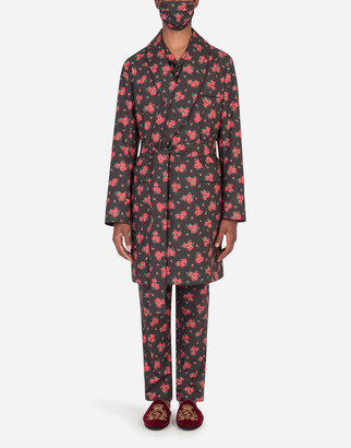 Dolce & Gabbana Miniature Rose-Print Robe With Matching Face Mask