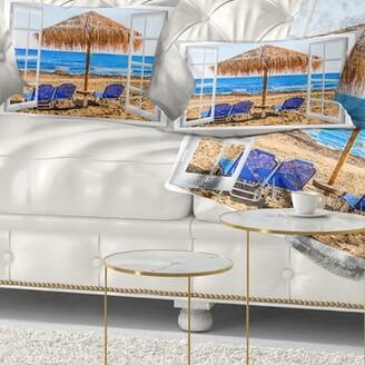 East Urban Home Seashore Window Open to Beach Hut with Chairs Lumbar Pillow East Urban Home