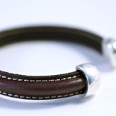 Amy Fine Open Leather Cuff Brown