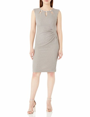 R & M Richards R&M Richards Women's Glitter Knit Short Key Hole Front Dress