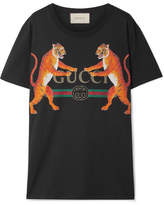 Gucci Oversized Printed Cotton-jersey T-shirt - Black