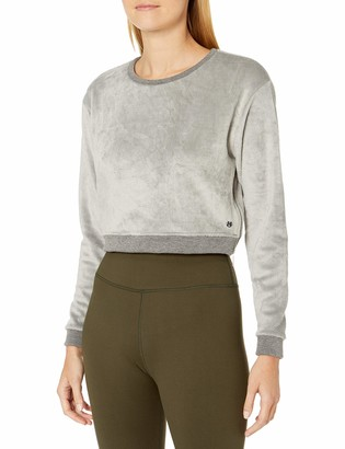 Maaji Women's Solid Texture Crew Neck Cropped Sweatshirt with Zipper