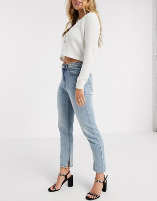 Pimkie straight fit jean with split hem in blue