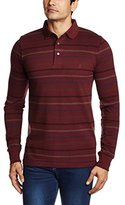 French Connection Men's Brunswick Stripe Long Sleeve Pique Polo
