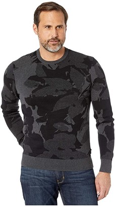 Calvin Klein Cotton Modal Printed Crew Neck Sweater - 12GG (Gunmetal Heather) Men's Sweater