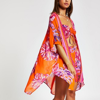 River Island Orange floral printed kaftan