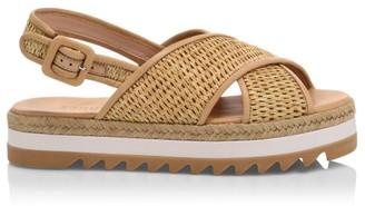 Schutz Aiyana Raffia Espadrille Slingback Flatform Sandals