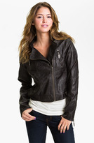 Jou Jou Weathered Faux Leather Quilted Moto Jacket (Juniors)